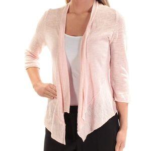Alfani Womens Pink Linen Drapey Cardigan Sweater